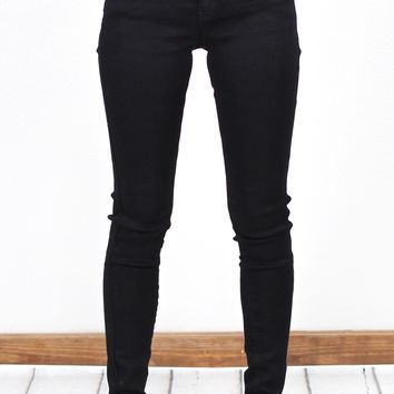 Solid Mid-Rise Double Button Skinny Jeans {Black}