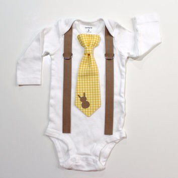 Baby Boy Easter Outfit. Gingham Bunny Spring Tie & Suspender with Rabbit toddler boys. Sizes NB 3 6 9 12 18 24 month 2t 3t 4t 5t 6 8