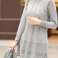 Gray Long Sleeve Turtleneck Knitted Dress