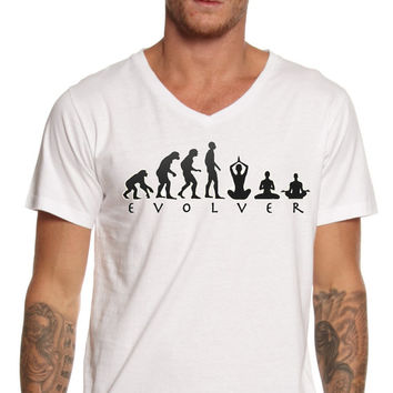 Evolver Tee, Yoga T-Shirt, Evolution Graphic, Meditation Tee, Unisex Graphic, Made in the USA, American Apparel, Best T-Shirts