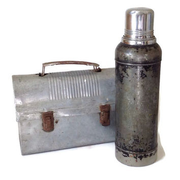 Vintage 1950's Thermos Stanley Super Vac Stainless Steel Hot and Cold  Rustic Industrial Home Decor