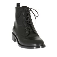 Saint Laurent black leather Patti lace-up booties