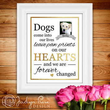 Printable wall art decor: Dogs come into our lives leave paw prints on our hearts and we are forever changed.(Custom digital download - JPG)