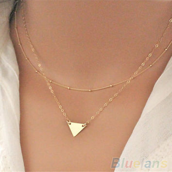 Womens Simple Double Layers Golden Bronze Sequins Triangle Pendant Necklace