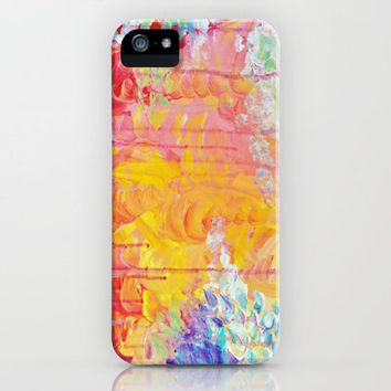 SUN SHOWERS - Beautiful Pastel Coloful Rain Clouds Bright Sky Abstract Acrylic Painting iPhone Case by EbiEmporium | Society6