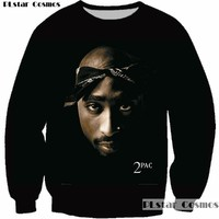 PLstar Cosmos Pullover Hip Hop Rock Singer Men Women Sweatshirt Hoodies 3D Print 2pac Tupac Shakur Long Sleeve Clothing Plus