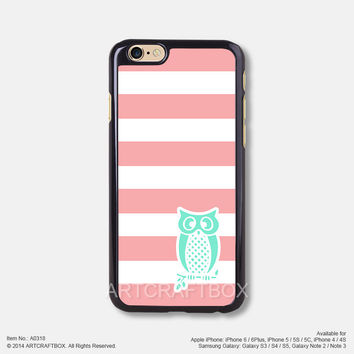 Pink Strip and Mint Owl Free Shipping iPhone 6 6Plus case iPhone 5s case iPhone 5C case 318