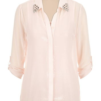 Embellished Jewel Collar Blouse