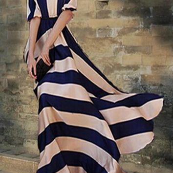 Blue-Khaki Striped Draped A-line Half Sleeve Elegant Homecoming Party Maxi Dress