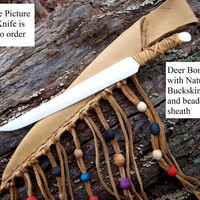 Handmade TO ORDER Bone knife Athame and buckskin leather sheath native american craft weapon indian mountain man ritual knife