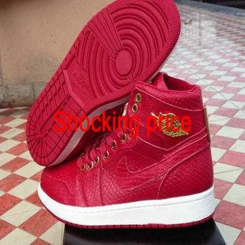 Genuine Air Jordan 1 One alligator leather Red White Gold shoe