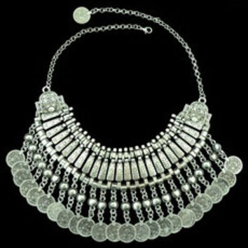 Gypsy Bohemian Beachy Coin Statement Bib Necklace Festival Turkish India Tribal-JS (Color: Silver gray) [7687573574]