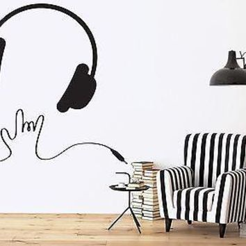 Wall Vinyl Sticker Decor Headphone Wire Listen to Music Sing Dance Unique Gift (n224)