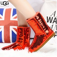 UGG Autumn And Winter New Fashion Sequin Women  Keep Warm Boost Shoes Red