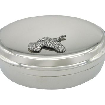 Flying Turkey Bird Pendant Oval Trinket Jewelry Box
