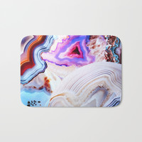 Agate, a vivid Metamorphic rock on Fire Bath Mat by Elena Kulikova