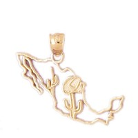 14K GOLD TRAVEL MAP CHARM - MEXICO #5062