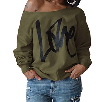 SHUJIN Women Hoodies Sweatshirt Spring Female LOVE Letter Printed Long Sleeve Sexy Off The Shoulder Pullover Hoodies Jumper
