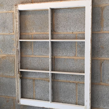 Vintage 6 Pane Window Frame - White, 36 x 27, Rustic, Wedding, Engagement, Beach Decor, Photos, Pictures, No Glass