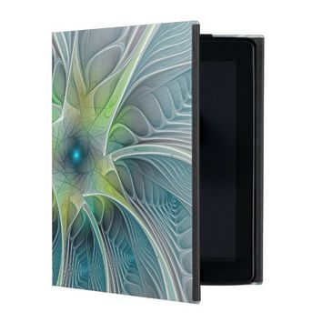 Flourish Fantasy Modern Blue Green Fractal Flower iPad Folio Case