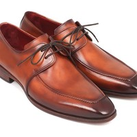 Paul Parkman Brown Leather Apron Derby Shoes For Men (ID#33SX92) by PAUL PARKMAN ® The Art of Handcrafted Men's Footwear