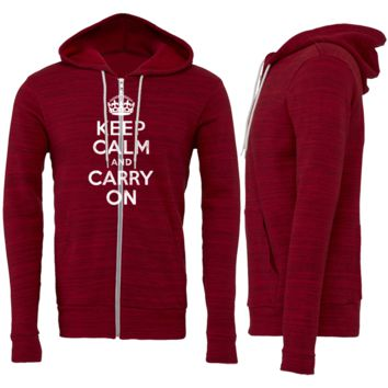 Keep Calm and Carry On Zipper Hoodie