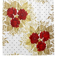 red,faux,gold,roses,pattern,chic,elegant,modern,gi shower curtain