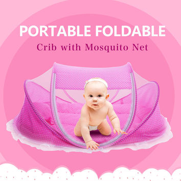 Foldable Baby Crib 0-3 Years Baby Bed With Pillow Mat Set Portable Folding Crib With Netting Newborn Sleep Travel Bed Newest