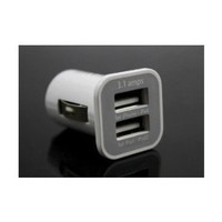 3.1A Dual USB Car Charger Adapter for iPad iPad2 iPhone iPod (White)