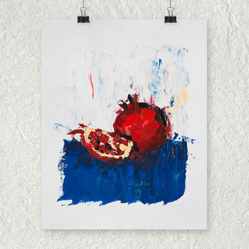 Pomegranate Painting, Small Kitchen Fine Art Palette Knife Painting, Fruit Still Life Painting, Red Painting, Blue Painting, Art on Paper