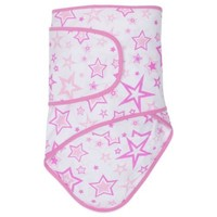 Miracle Blanket® Swaddle in Pink Stars with Pink Trim
