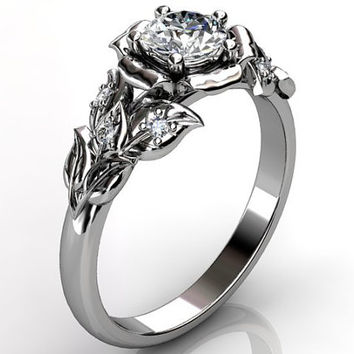 14k white gold diamond unusual unique floral engagement ring, bridal ring, wedding ring ER-1061-1.