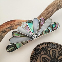 Fan Barrette, Art Nouveau Design, Bridal Hair Accessory, Mexican Jewellery, Boho Accessories, Abalone Shell, Mother of Pearl, Silver Plated