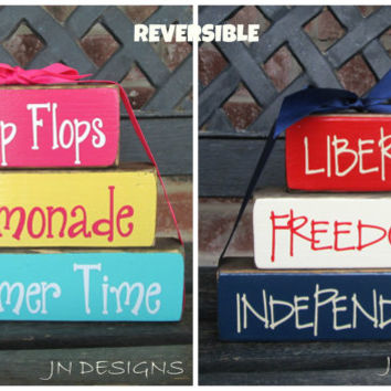"REVERSIBLE Summer& 4th of July  ""CHUNKY"" stacker-Flip Flops Lemonade Summer time reverses with Liberty Freedom Independence"