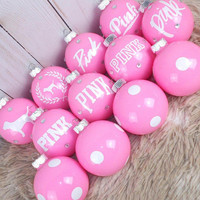 Light Pink and White Victoria Secret Pink || Christmas Ornaments || 12 Pieces