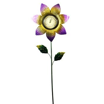 Home & Garden THERMOMETER STAKE PURPLE FLOWER Metal Garden Accent 11817