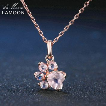 LAMOON Bearfoot Pendant Necklace Jewelry 925 Sterling Silver Necklaces Natural Rose Quartz Rose Chain Fine Jewelry
