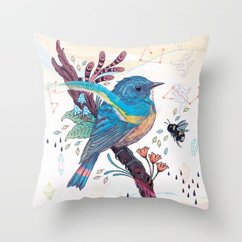 Bluetail Throw Pillow by matmiller