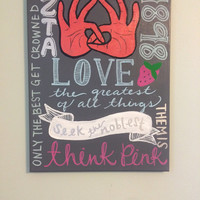 Sorority ZETA painting with related sayings and symbols