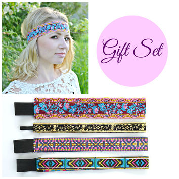 Wide Boho Headband, Ribbon Headbands, Gift Set for Her, Hair Accessories, Bohemian Headbands, Fashion Hairbands, Forehead Headbands