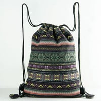 Lined Cotton Woven Sock knitting bag Stash bag Drawstring Backpack Boutique Fabric Laundry Bag