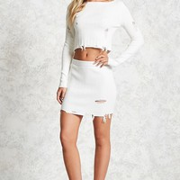 Distressed Ribbed Mini Skirt