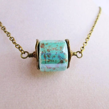 Boho Speckled Teal Cylinder & Bronze Washer Pendant Long Layering Necklace