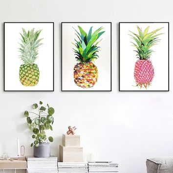 Unframed Modern Style Pink Colorful pineapple Poster Painting Wall Art Pictures Home Decor décoration de maison (25*21cm)