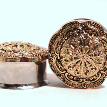 Gold Tribal Flower Plugs 3/4 7/8 Inch 19mm 22mm