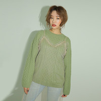 Mix Pattern Knit Sweater