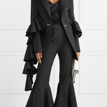 Black Striped Pleated Pockets Bell-bottoms Plus Size Vintage Long Pants