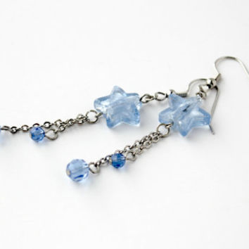 Long Light Blue Silver Glass Star Beaded Earrings - Fun Chain Dangle Earrings - One of a Kind - Handmade Jewelry - Ready to Ship