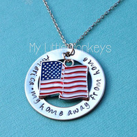 Custom Personalized Hand Stamped Necklace - Foreign Exchange Student Gift - America, My Home Away from Home