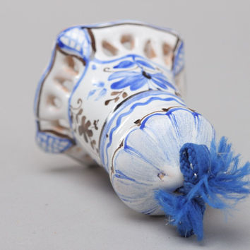 Miniature handmade white and blue ceramic bell with Gzhel painting decor ideas